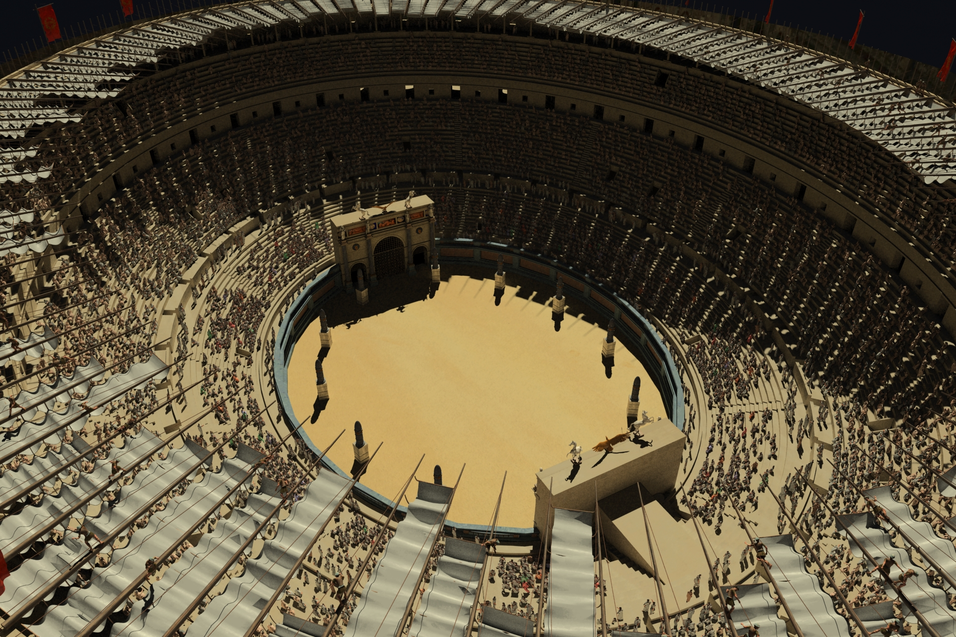 Roman Colosseum Crowd Test Render
