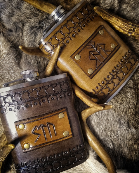 Leather Rune Carved Viking Flask