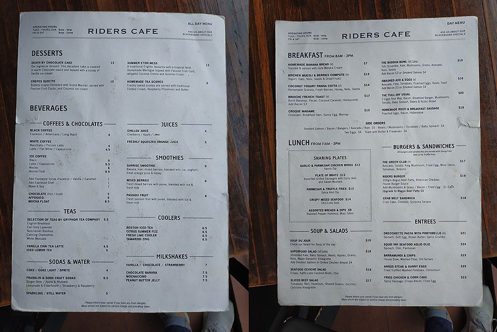 Riders Cafe menu