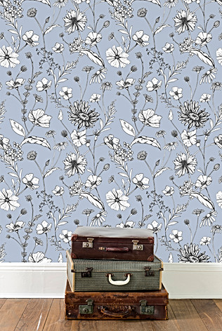 Spring Floral Wallpaper in blue