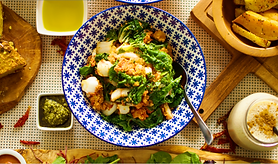Photo of a vegan meal in a blue and white patterened dish