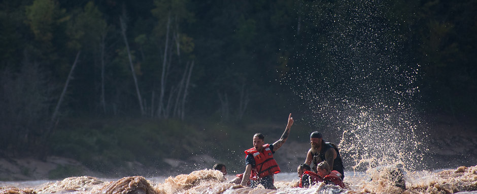 Tidal bore rafting on the Shubenacadie River in Nova Scotia Canada