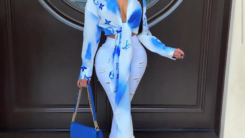 Nicola Luxury Top(Blue)