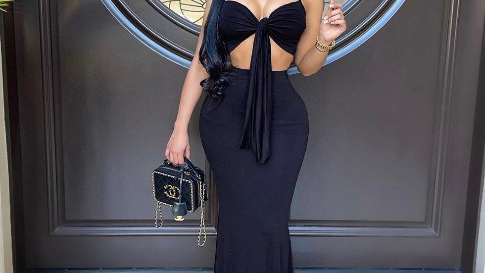 Rebecca Maxi Skirt Set(black)
