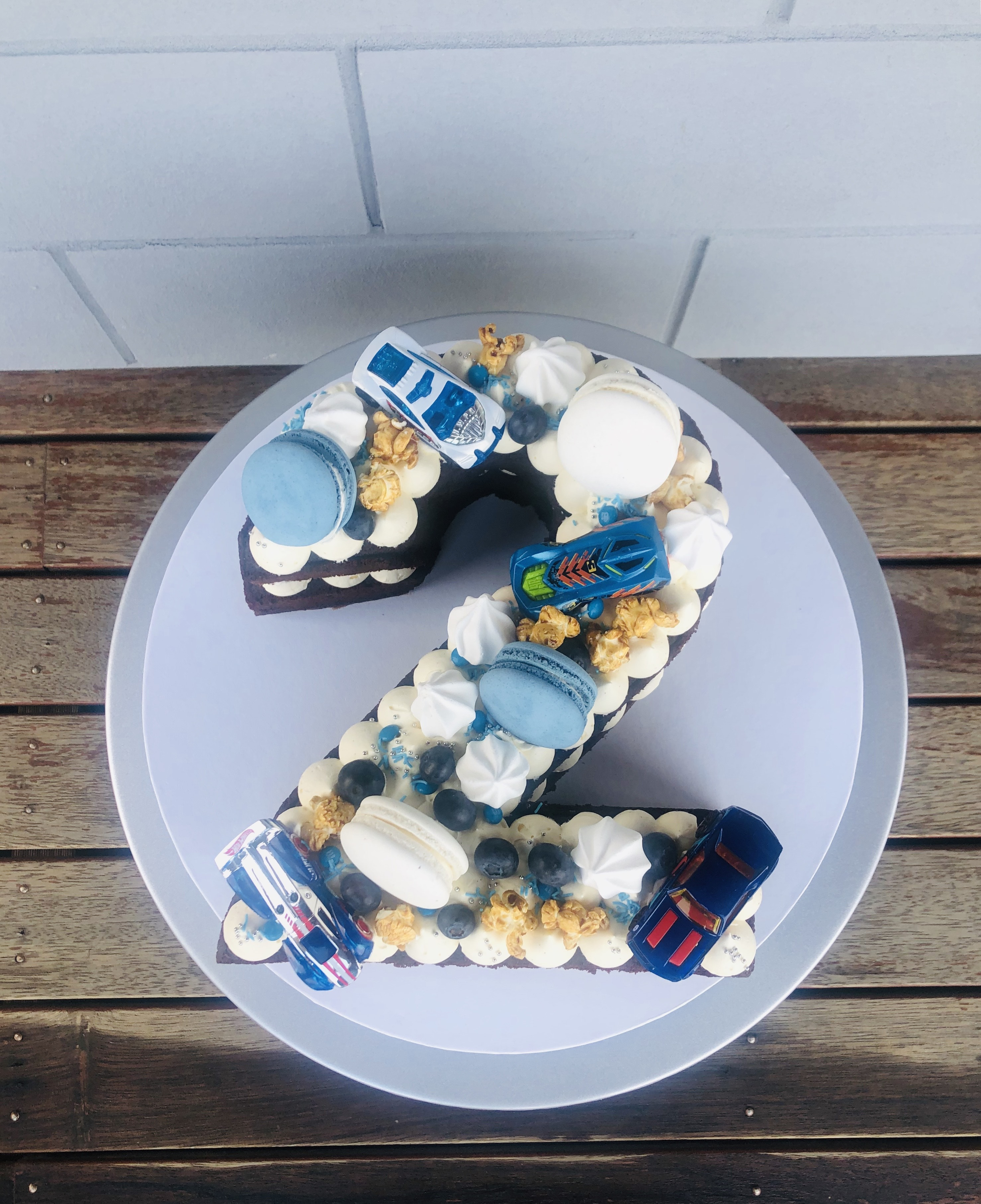 '2' Digit Cake Blue Theme with MatchBox