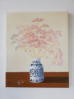 'Dried Gypsophila in a Blue & White Vase'