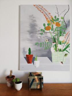 'Flower Arrangement & Two Plants on a Piano'