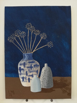 'Vase of Seed Heads with Two Vessels'