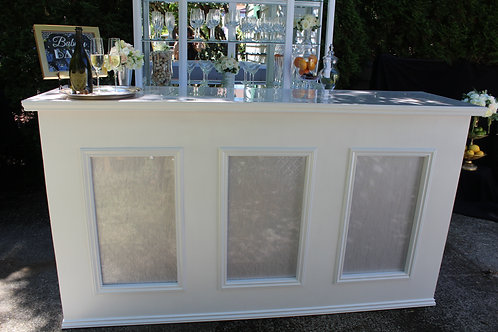 6' White Julep Barfront with Pearl Lucite Insets