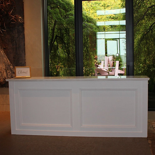 8' White Cosmopolitan Barfront with Solid Wood Insets