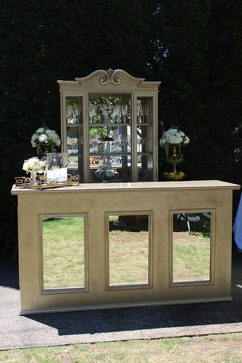 6' Champagne Gold Barfront with Mirror Insets