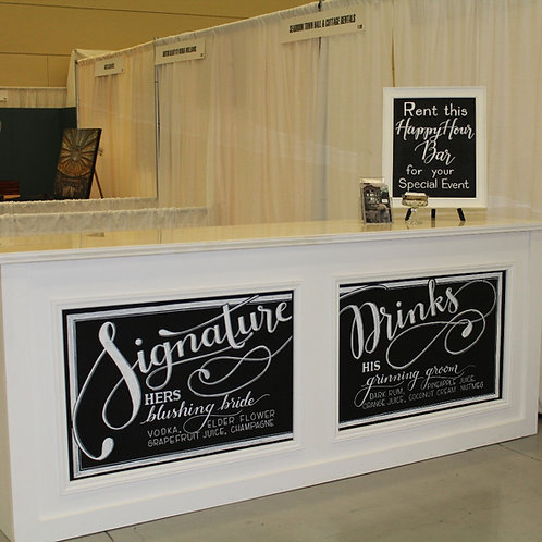 8' White Cosmopolitan Barfront with Chalkboard Insets