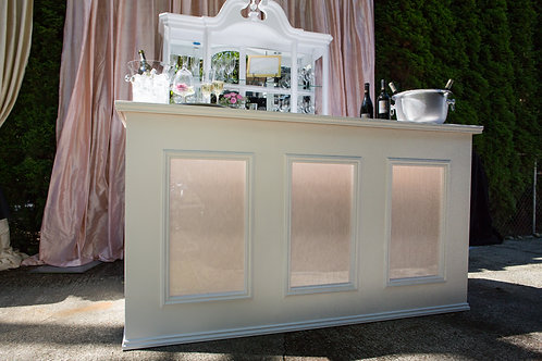 6' White Bellini Barfront with Pearl Lucite Insets