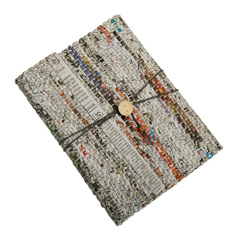 Made using recycled woven newspaper, ethically crafted by women in a rural area of Bangladesh.