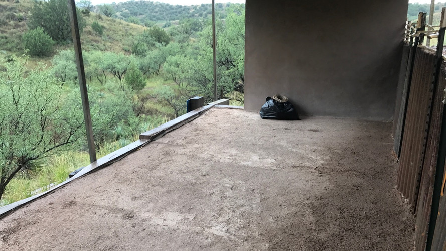 Sheltered camping/sleeping area