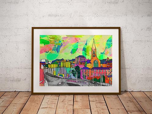 Nottingham City Skyline Psychedelic Art Print