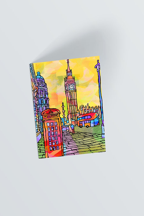 London Psychedelic Postcard of Big Ben Tower Clock