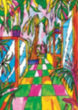 Inside snake sanctuary colourful psychedelic children's book illustration