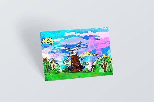 Sneinton Windmill Psychedelic Postcard