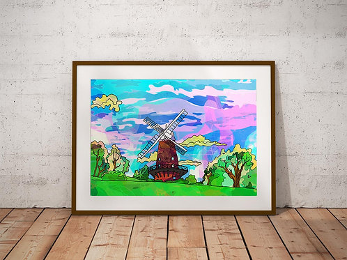 Sneinton Windmill Psychedelic Art Print