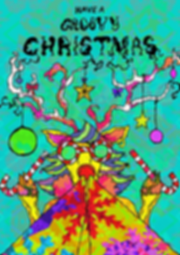 Rudolf 'Have a groovy Christmas' greeting card Colourful Psychedelic illustration by Jasmin Issaka, freelance Illustrator & Graphic Designer