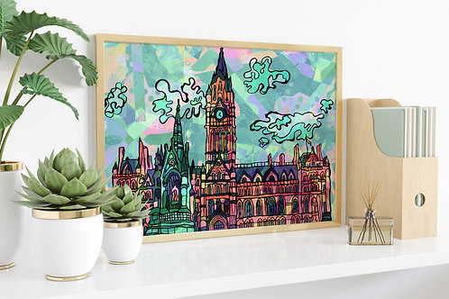Manchester Town Hall Psychedelic Art Print