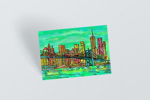 New York Psychedelic Postcard of Manhattan Brooklyn Bridge