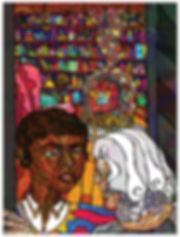 Old Lucy at doorway with Michael, Howl's moving castle story illustation design by Jasmin Issaka, written by Diana Wynne Jones, folio societry, house of illustration competition entry, colourful psychedelic illustration, children's books