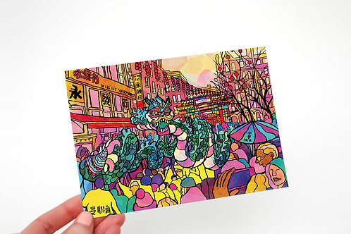 Manchester China Town Psychedelic Postcard