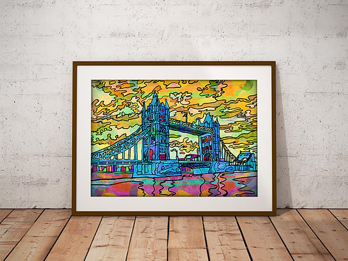 London Tower Bridge Psychedelic Art Print