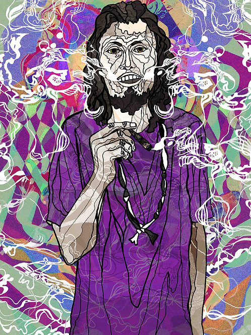 Psychedelic digital portrait of man smoking
