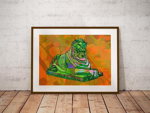 Nottingham Left Lion Statue Psychedelic Art Print