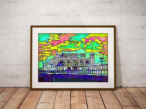 Brighton Palace Pier Psychedelic Art Print