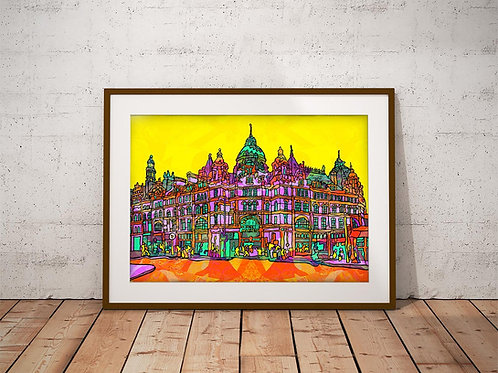 Leeds Kirkgate Market Psychedelic Art Print