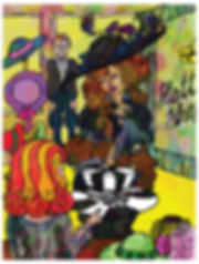 Witch of the waste enters hat shop, Howl's moving castle story illustation design by Jasmin Issaka, written by Diana Wynne Jones, folio societry, house of illustration competition entry, colourful psychedelic illustration, children's books
