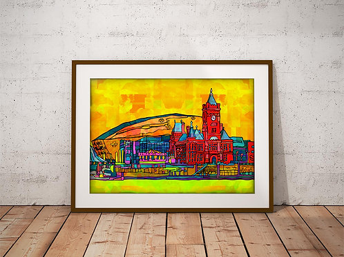 Cardiff City Psychedelic Art Print