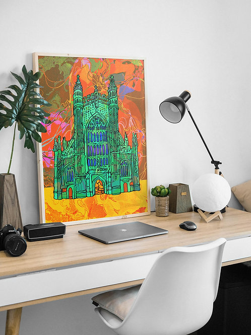 Bath Cathedral Psychedelic Art Print