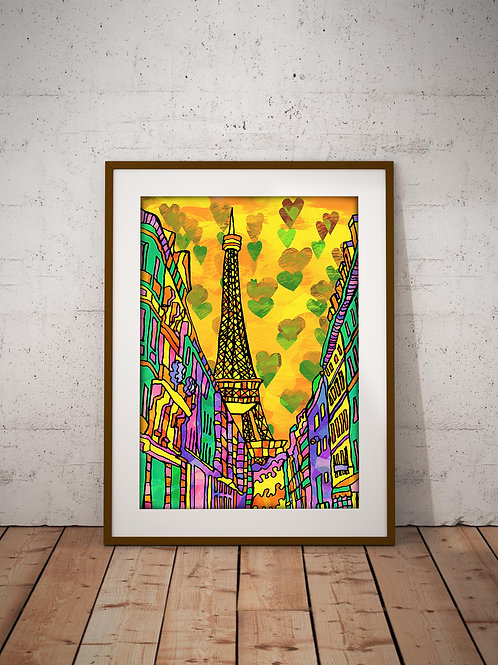 Paris Eiffel Tower Psychedelic Art Print