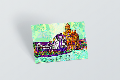 Manchester Shambles Square Psychedelic Postcard