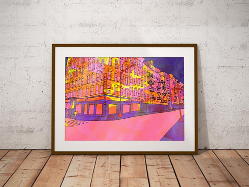 New York Little Italy Psychedelic Art Print