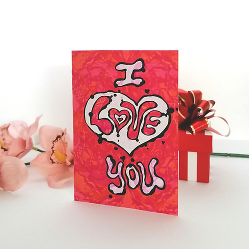Psychedelic Valentine Card - I love you