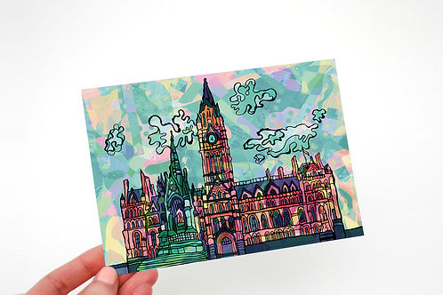 Manchester Town Hall Psychedelic Postcard