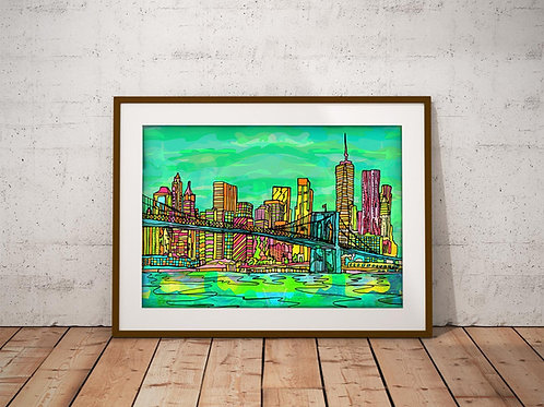 New York Brooklyn Bridge Psychedelic Art Print