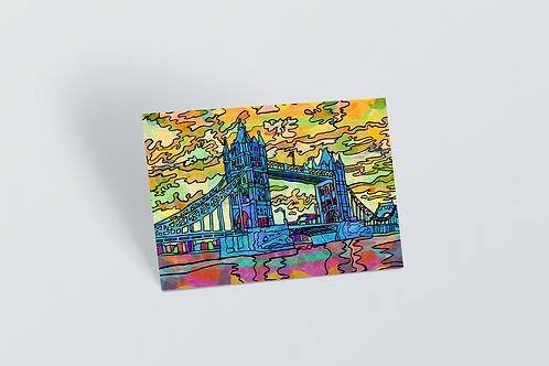 London Tower Bridge Psychedelic Postcard