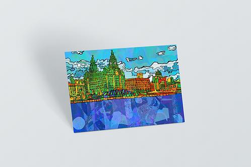 Liverpool Pier Head Psychedelic Postcard