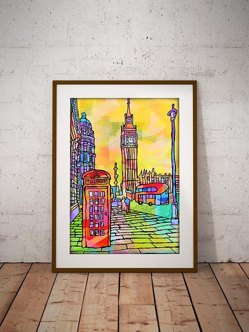 London Big Ben Psychedelic Art Print