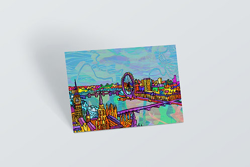 London Psychedelic Postcard of River Thames City Skyline