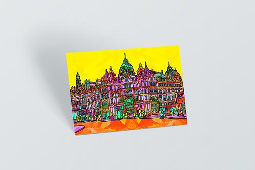 Leeds Psychedelic Postcard of Kirkgate Market
