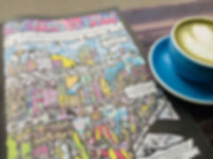 The Goose is Loose Comic colourful psychedelic illustration by Jasmin Issaka, written by Ben Knight, Nottingham Left Lion Issue 110 and 200 degrees green matcha latte in blue coffee cup