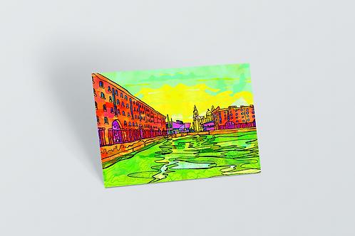 Liverpool Albert Docks Psychedelic Postcard